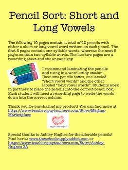 Pencil Sort: Short and Long Vowels