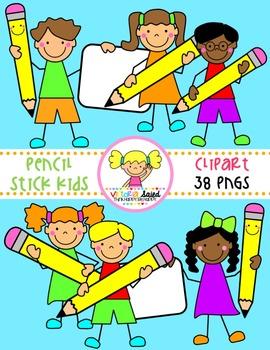 Pencil Stick Kids Clipart