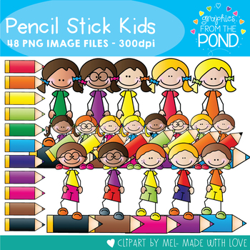 Pencil Stick Kids - Clipart for Teaching
