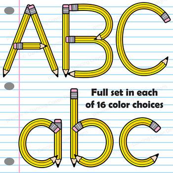 Pencil Style Alphabet Letters Clip Art Bundle