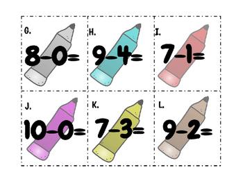 Pencil Subtraction Scoot or Scavenger Hunt