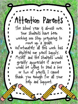 Pencil Supply Letter