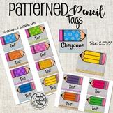 Editable Book Bin Tags | Pencil Theme Name Tags