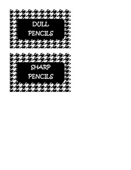 Pencil Tags made in houndstooth