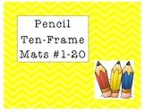 Mini Eraser Pencil Ten-Frame Mats Numbers 1-20