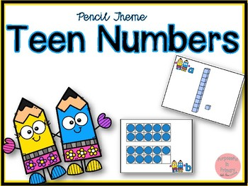 Pencil Theme Teen Numbers