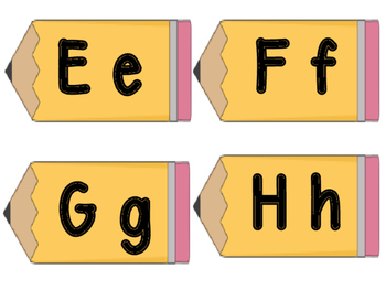 Pencil Theme Word Wall Letter Headings