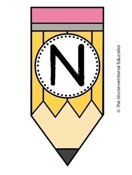 Pencil-Themed Alphabet Set: Letters, Numbers, & Symbols (70+ Pages!)
