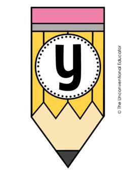 Pencil-Themed Alphabet Set: Letters, Numbers, & Symbols (84+ Pages!)