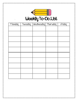 Pencil Themed Weekly To-Do List