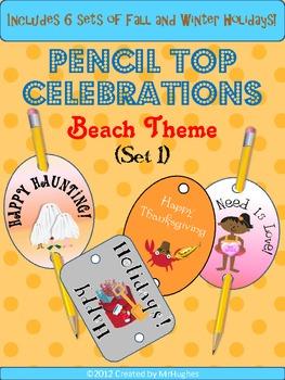 Pencil Top Celebrations (BEACH Theme)- Set 1