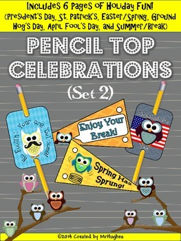 Pencil Top Celebrations (Owl Theme)- Set 2