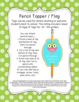 Pencil Topper / Flag FREEBIE
