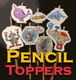 Pencil Toppers: Narwhal, Shark, Robot, Rocket, Goldfish, P