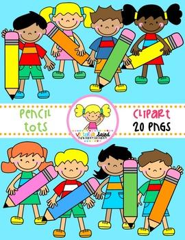 Pencil Tots (kids clipart)