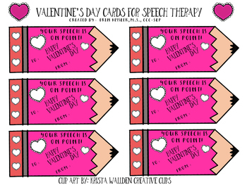 Pencil Valentine's Day Cards for Speech