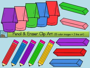 Pencil and Eraser Clip Art {Personal + Commercial Use}