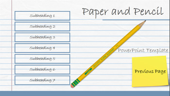 pencil and notebook paper powerpoint template by animated cartoon