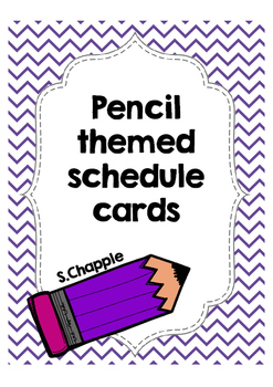 Pencil themed schedule cards
