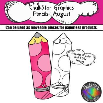 Pencils August Clip Art –Chalkstar Graphics