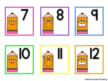 Pencils Calendar Numbers {Back to School}