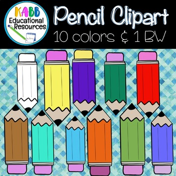 Pencils Clipart.  10 Different Colors and 1 Black and White!