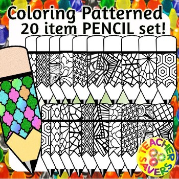Pencils Coloring Clip Art Set Commercial and Personal Use