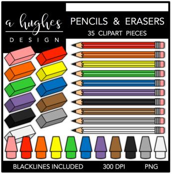 Pencils & Erasers 1 Clipart {A Hughes Design}