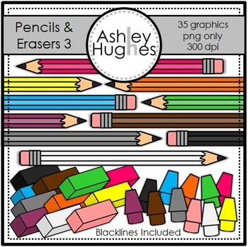 Pencils & Erasers 3 Clipart {A Hughes Design}
