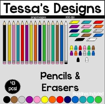 Pencils & Erasers Clipart