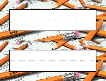 Pencils Desk Name Tag Plates Set
