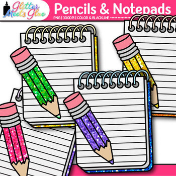 Notepad and Pencil Clip Art {Back to School Graphics for First Day of School}