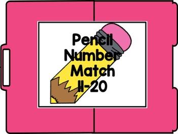 Pencils Number Match 1-10 File Folder