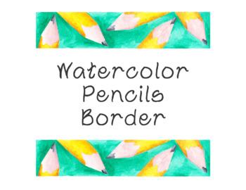 Pencils Watercolor Bulletin Board Border Printable Full Co
