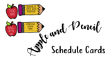 Pencils and Apples Schedule Cards