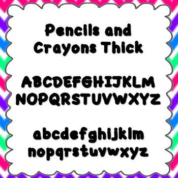 Pencils and Crayons Thick Font {personal and commercial use; no license needed}