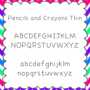 Pencils and Crayons Thin Font {personal and commercial use; no license needed}
