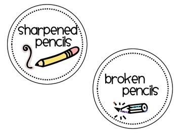 Pencils organization tags