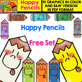 Pencils with Happy Faces - Free Clipart Set