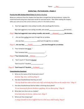 Penderwicks Activity Pages with Answer Key - Complete Packet