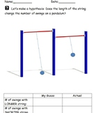 Pendulum Exploration Hypothesis Worksheet