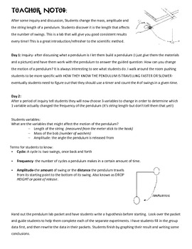Pendulum Inquiry/Lab -3 experiments, graphing, conclusions Scientific Method