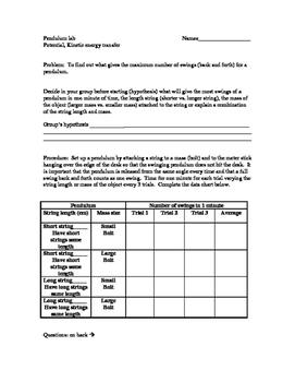 Pendulum Lab Worksheets & Teaching Resources | Teachers Pay