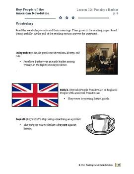 Penelope Barker - Revolutionary War Period Key People - Lesson 12