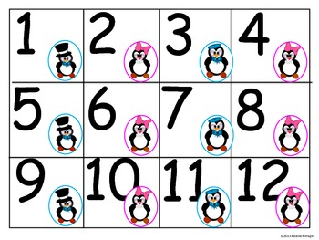 Penguin 100's Chart and Calendar Numbers