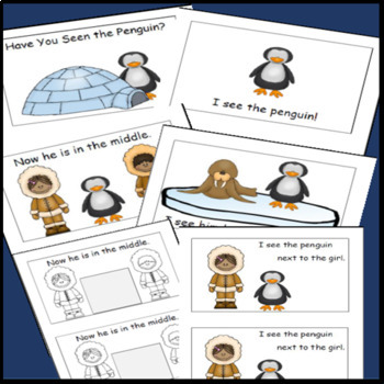 Penguins, Emergent Reader, Cut and Paste Positional Words, Antarctic Animals Fun