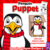 Penguin Craft Activity | Printable Paper Bag Puppet Template