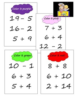 Penguin  Math Mystery Picture Addition and Subtraction