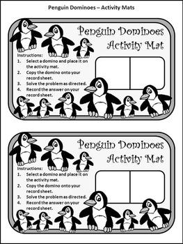 Penguin Activities: Penguin Dominoes Winter Math Game Activity Packet