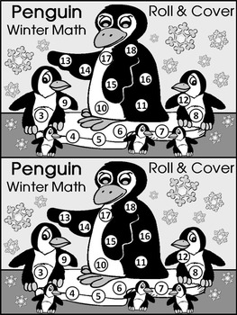 Penguin Activities: Penguin Roll & Cover Winter Math Activity Packet